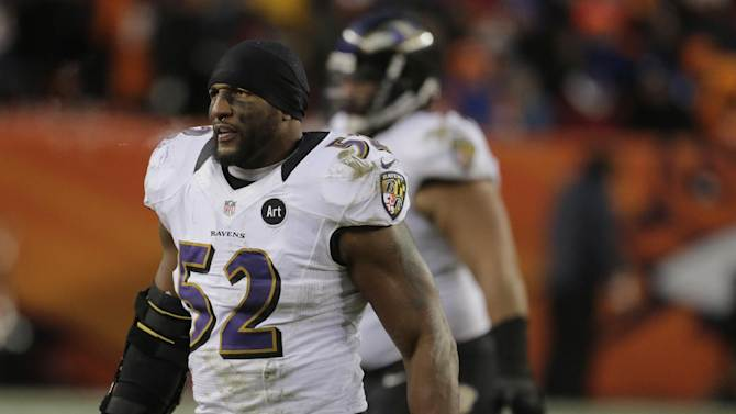 Baltimore Ravens inside linebacker Ray Lewis walks off the field during the third quarter of an AFC divisional playoff NFL football game against the Denver Broncos, Saturday, Jan. 12, 2013, in Denver. (AP Photo/Charlie Riedel)