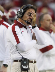 Alabama head coach Nick Saban reacts near the end of a 45-21 win over Georgia Southern in the second half of an NCAA college football game at Bryant-Denny Stadium in Tuscaloosa, Ala., Saturday, Nov. 19, 2011. (AP Photo/Dave Martin)