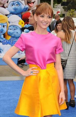 Jayma Mays arrivies at the 'Smurfs 2' premiere at Regency Village Theatre on July 28, 2013 in Westwood --