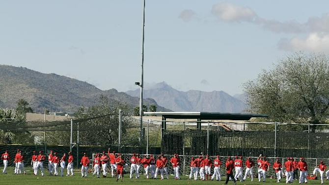 Los Angeles Angels players stretch during a spring training baseball workout Tuesday, March 3, 2015, in Tempe, Ariz. (AP Photo/Morry Gash)