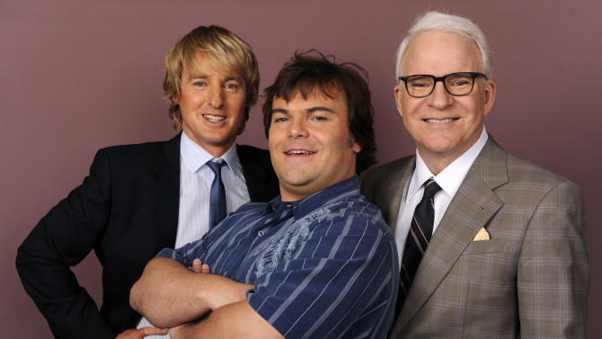 "In this Oct. 7, 2011 photo, actors from left, Owen Wilson, Jack Black and Steve Martin, cast members in the film ""The Big Year,"" pose together for a portrait in Burbank, Calif. The film is released in theaters on Oct. 14. (AP Photo/Chris Pizzello)"