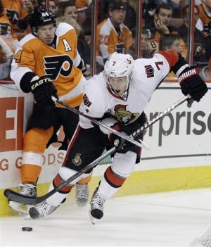 Briere's hat trick sinks Senators