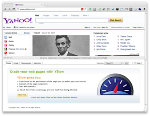 Image of YSlow running on Yahoo! homepage seen within Chrome
