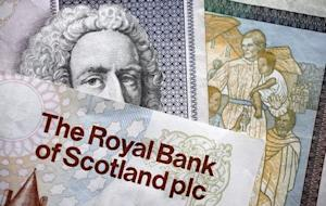 Scottish bank notes are displayed in London