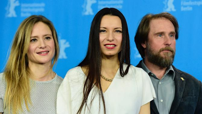 "From L: Actress Julia Jentsch, German director Anne Zohra Berrached and actor Bjarne Maedel pose at a photocall for the film ""24 Weeks"" (24 Wochen) during the 66th Berlinale Film Festival in Berlin on February 14, 2016"