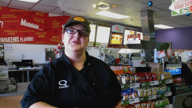 This Friday, Dec. 28,2012 photo Kaylee Feight talks about the impact of a minimum wage increase on her job at Quiznos in Helena, Mont. Montana's minimum wage workers are getting a small pay raise on New Year's Day when an automatic cost-of-living increase takes effect. (AP photo/Matt Gouras)