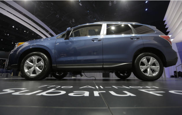 Subaru Forester is shown during it's world debut at the LA Auto Show in Los Angeles, Wednesday, Nov. 28, 2012. (AP Photo/Chris Carlson)