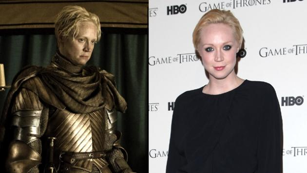 Gwendoline Christie as Brienne of Tarth in 'Game of Thrones' Season 2 (left), and at the 'Game of Thrones' Season 1 DVD release party in London (right) -- HBO/Getty Images