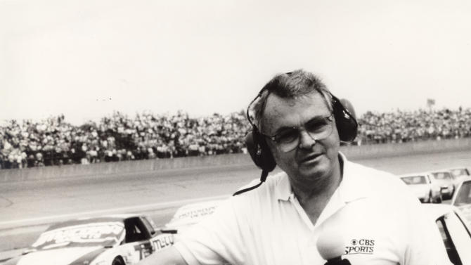 In this undated photo provided by CBS Sports, journalist Chris Economaki is shown at Daytona International Speedway in Daytona Beach, Fla. Economaki, regarded as the authoritative voice in motorsports for decades, died Friday, Sept. 28, 2012. He was 91. (AP Photo/File)