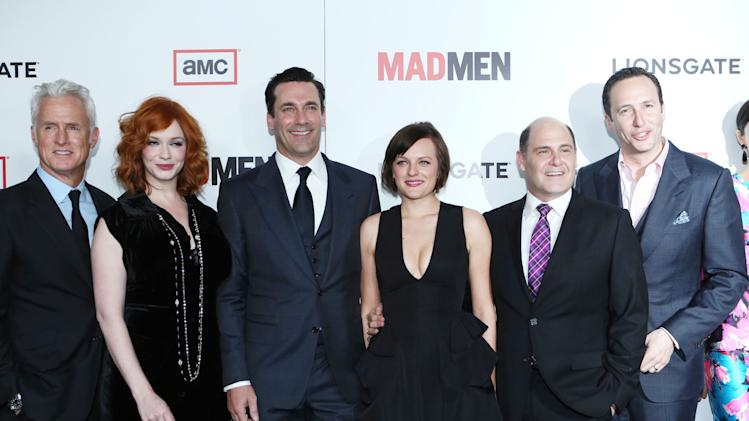 John Slattery, Christina Hendricks, Jon Hamm, Elisabeth Moss, Creator/Executive Producer Matthew Weiner and President of AMC Charlie Collier at the AMC Season 6 Premiere of Mad Men , on Wednesday, March, 20, 2013 in Los Angeles. (Photo by Alexandra Wyman/Invision for AMC/AP Images)