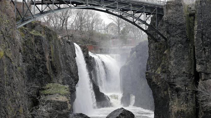 The Great Falls is seen in Paterson, N.J. on Saturday, April 13, 2013. Alexander Hamilton, the nation's first treasury secretary, envisioned harnessing the power of the falls to create the nation's first planned industrial city in Paterson, helping to transform America from an agrarian society into an industrial powerhouse capable of breaking free from British control. (AP Photo/Mel Evans)