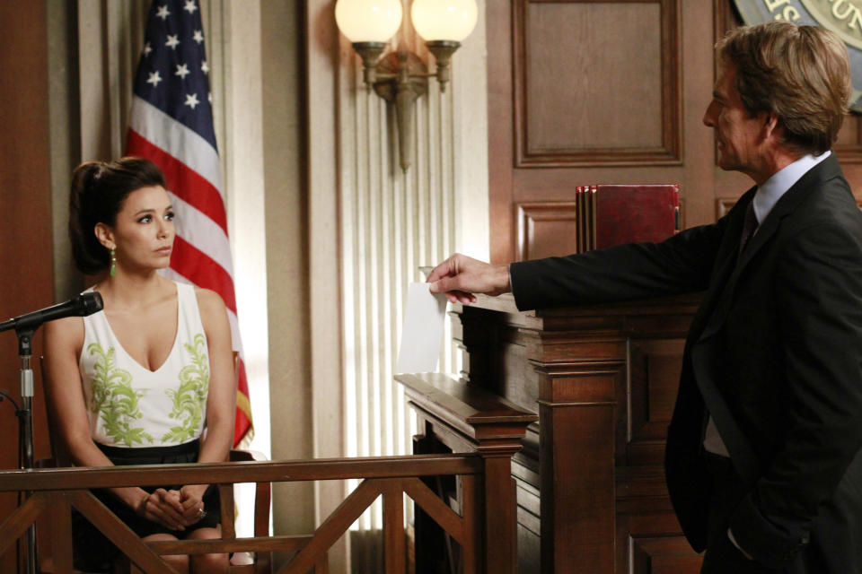 "In this publicity image released by ABC, Eva Longoria, left, and Scott Bakula are shown in a scene from the series finale of ""Desperate Housewives,"" airing Sunday, May 13, 2012 at 9:00p.m. EST on ABC. (AP Photo/ABC, Ron Tom)"