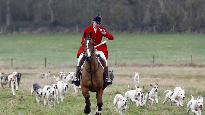 A huntsman from the Quorn Hunt blows his horn during the traditional Boxing Day meet at Prestwold Hall near Loughborough