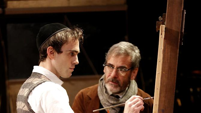 """In an undated handout photo provided by Keith Sherman and Associates, Ari Brand, left, and Mark Nelson in a scene from """"My Name Is Asher Lev,"""" currently performing off-Broadway at the Westside Theatre in New York. (AP Photo/Keith Sherman and Associates, Joan Marcus)"""
