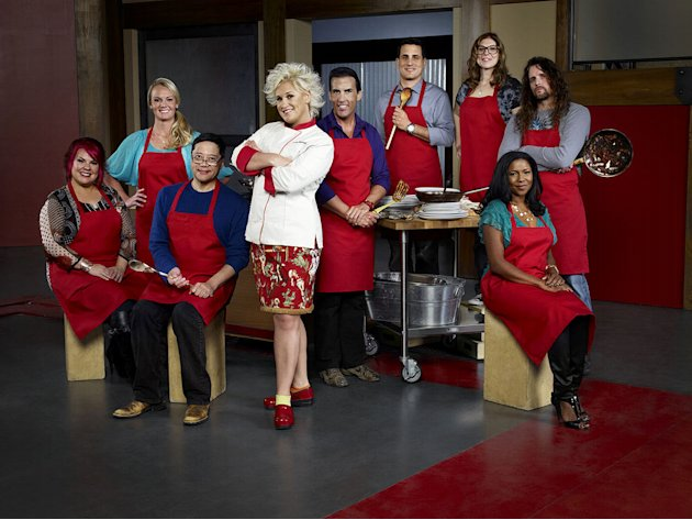 "Host Anne Burrell and Recruits, Dorothy Strouhal, Sean Bennett, Richard Chen, Melissa Rhodes, Anthony Schiano, Rachel Margolin, Kelli Powers, and Robert Tamke as seen on Season 3 of ""Worst Cooks in Am"