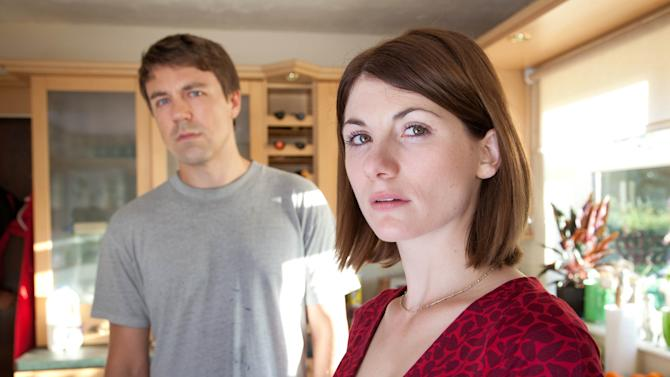 """This publicity image released by BBC America shows Jodie Whittaker as Beth Latimer, right, and Andrew Buchan as Mark Latimer from the series """"Broadchurch,"""" premiering Aug. 7 at 10 p.m. EST. (AP Photo/BBC America, Patrick Redmond)"""
