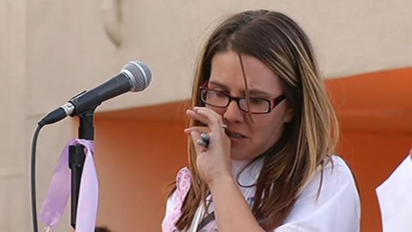 Murdered girl's mother speaks at vigil