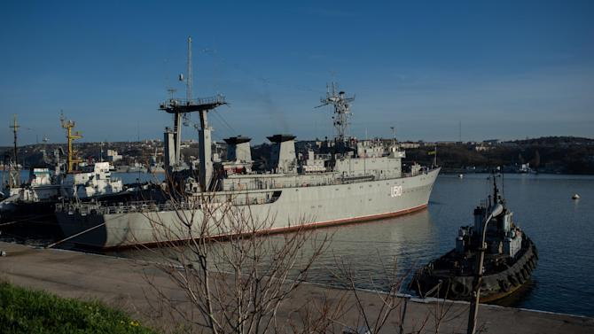 Ukrainian navy ship Slavutich is seen at harbor of Sevastopol, Ukraine, Monday, March 3, 2014. The Ukrainian Defense Ministry said that Russian forces that have overtaken Ukraine's strategic region of Crimea are demanding that the ship's crew surrender. (AP Photo/Andrew Lubimov)