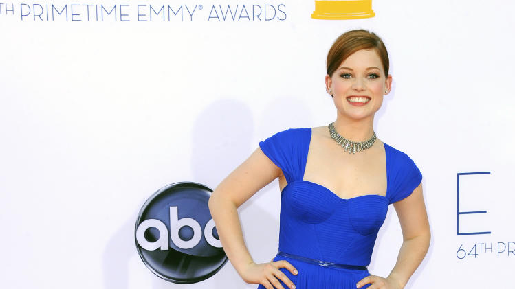 Actress Jane Levy arrives at the 64th Primetime Emmy Awards at the Nokia Theatre on Sunday, Sept. 23, 2012, in Los Angeles.  (Photo by Jordan Strauss/Invision/AP)