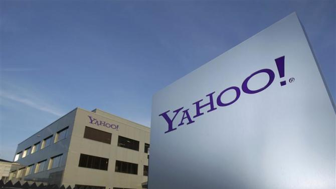 File photo of a Yahoo logo in front of a building in Rolle