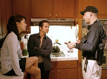 Eva Longoria and Freddy Rodriguez with director David Ayer on the set of MGM's Harsh Times