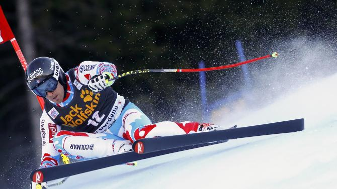 Mermillod Blondin of France clears a gate during the men's World Cup Super-G skiing race in Val Gardena