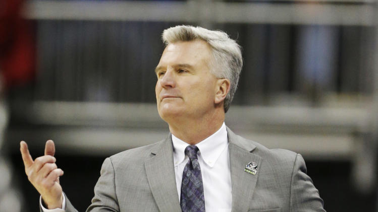 Kansas State coach Bruce Weber directs his team during the first half of a second-round game against La Salle in the NCAA college basketball tournament at the Sprint Center in Kansas City, Mo., Friday, March 22, 2013. (AP Photo/Orlin Wagner)