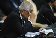 Philippine Foreign Affairs Minister Albert del Rosario attends the ASEAN Regional Forum in Phnom Penh. The Philippines&#39; foreign minister denounced Chinese &quot;duplicity&quot; and &quot;intimidation&quot; in the South China Sea, souring the mood at a regional summit designed to soothe tensions
