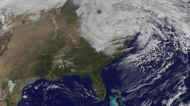 Post-tropical cyclone Sandy is seen on the east coast of the United States in this NASA handout satellite image taken on October 31, 2012.