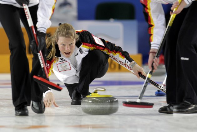 Germany's skip Schopp watches during their World Women's Curling Championship qualification round match against Russia in Riga