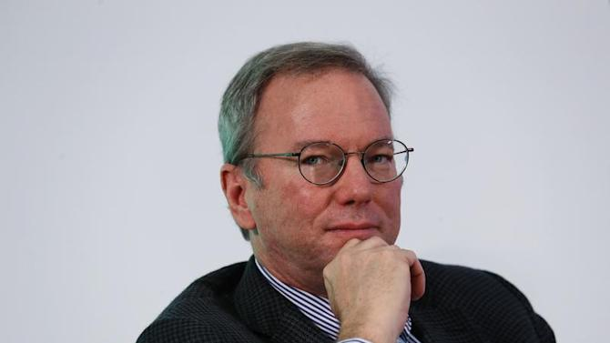 Google Executive Chairman Schmidt looks on during a talk at the Chinese University of Hong Kong