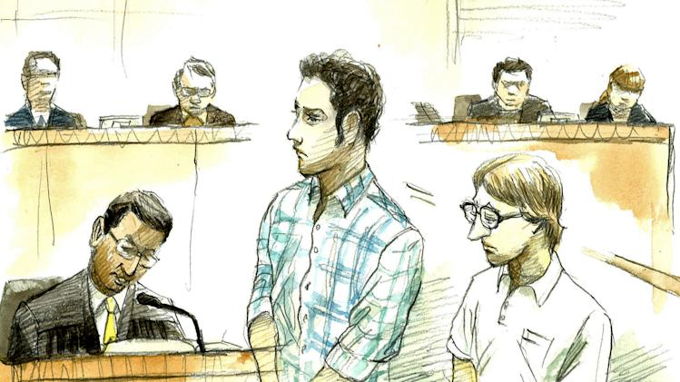 In this courtroom sketch, U.S. Navy Seaman Christopher Browning, of Athens, Texas, right, and Petty Officer 3rd Class Skyler Dozierwalker, of Muskogee, Oklahoma, attend a session at the Naha District Court in Naha, Okinawa Prefecture (State), Japan, Friday, March 1, 2013. Browning, 24, was sentenced to 10 years and Dozierwalker, 23, received nine years to prison on Friday for raping and robbing a Japanese woman in her 20s in a parking lot in October 2012 on Okinawa in a crime that outraged many on the southern Japanese island. (AP Photo/Kyodo News, Koichi Tashiro) JAPAN OUT, MANDATORY CREDIT, NO LICENSING IN CHINA, HONG KONG, JAPAN, SOUTH KOREA AND FRANCE