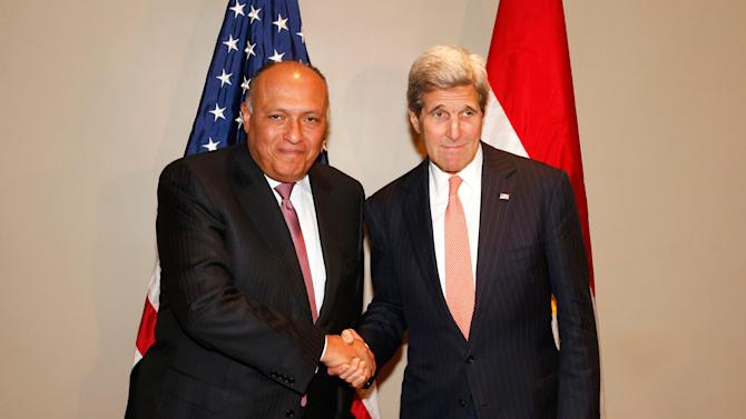U.S. Secretary of State John Kerry meets with Egyptian Foreign Minister Sameh Shoukry at United Nations headquarters in New York