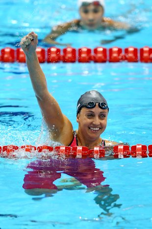 Rebecca Soni celebrates after winning gold (Getty Images)