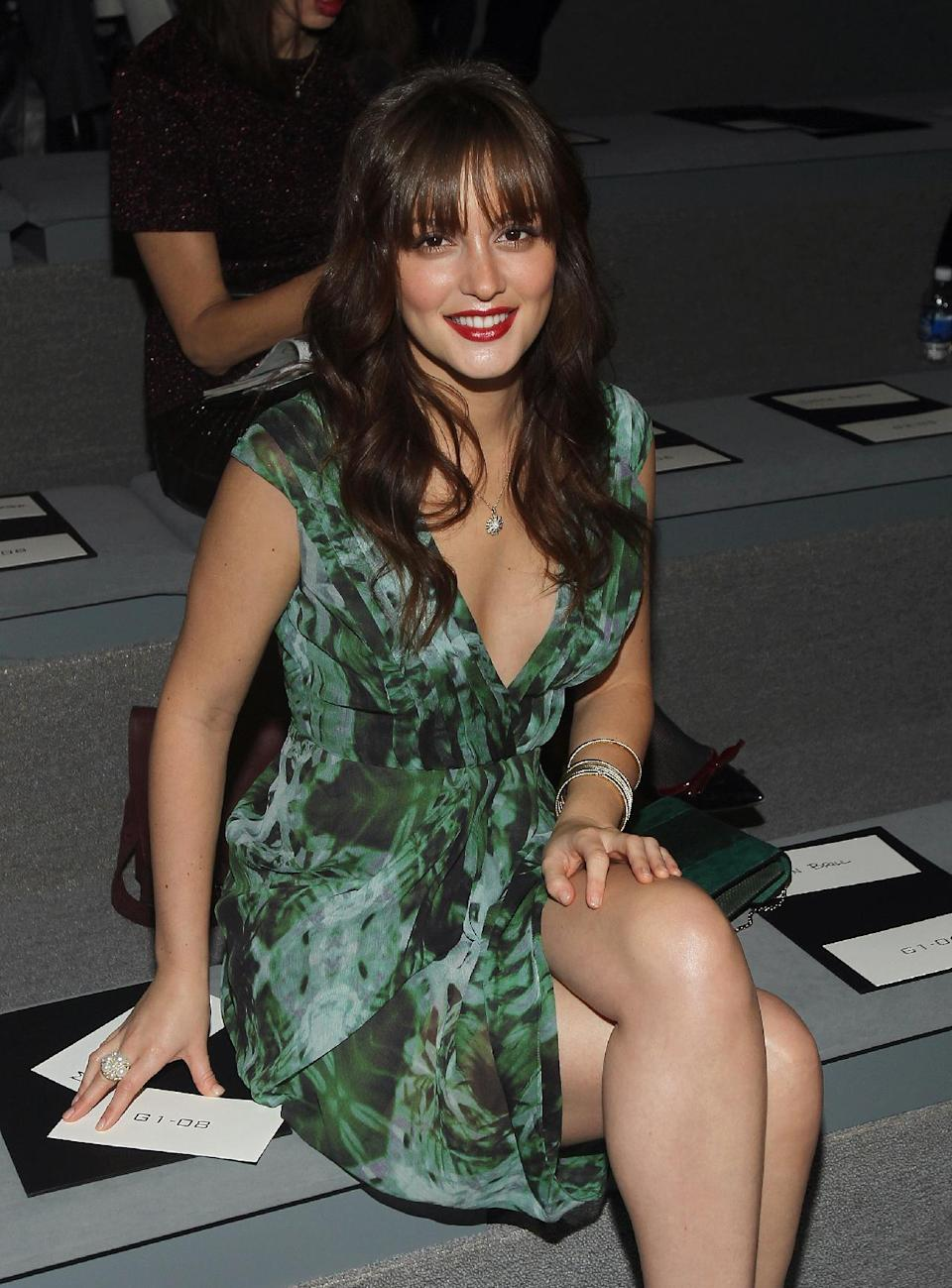 Actress Leighton Meester attends the Vera Wang Fall 2012 show during Fashion Week in New York, Tuesday, Feb. 14, 2012. (AP Photo/ Donald Traill)