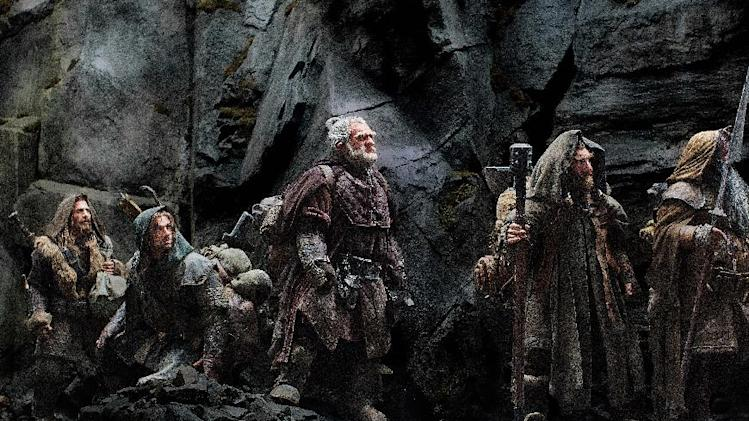 "FILE - This publicity film image released by Warner Bros., shows, from left: Dean O'Gorman as Fili; Aidan Turner as Kili; Mark Hadlow as Dori; Jed Brophy as Nori; and William Kircher as Bifur, in a scene from the fantasy adventure ""The Hobbit: An Unexpected Journey."" Filmmaker Peter Jackson's decision to shoot his epic three-part J.R.R. Tolkien prequel in the super-clear format that boosts the number of frames per second to 48 from the current standard, 24, has some unintended consequences. (AP Photo/Warner Bros, File)"