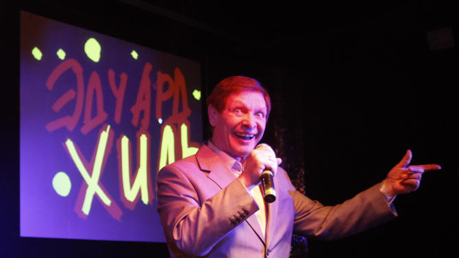 """FILE - In this April 24, 2010 file photo, Russian singer Eduard Khil, known as """"Mr. Trololo"""", performs during his concert in Moscow. Soviet crooner Khil , who gained international stardom in 2010 when his 1976 video of a vocalized song known as Trololo became a global Internet hit, died in St. Petersburg Sunday, June 3, 2012. (AP Photo/Sergey Ponomarev, File)"""