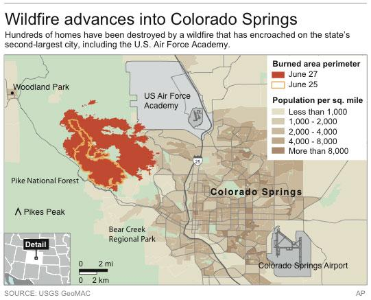 Map shows latest spread of the wildfire in Colorado Springs