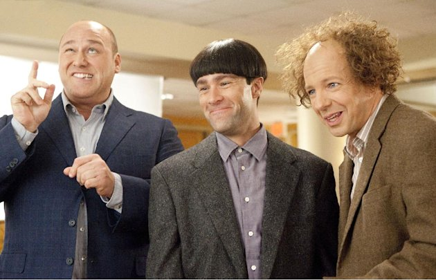 In this image released by 20th Century Fox, from left, Will Sasso, Chris Diamantopoulos, and Sean Hayes are shown in a scene from &quot;The Three Stooges.&quot; (AP Photo/20th Century Fox, Peter Iovino)