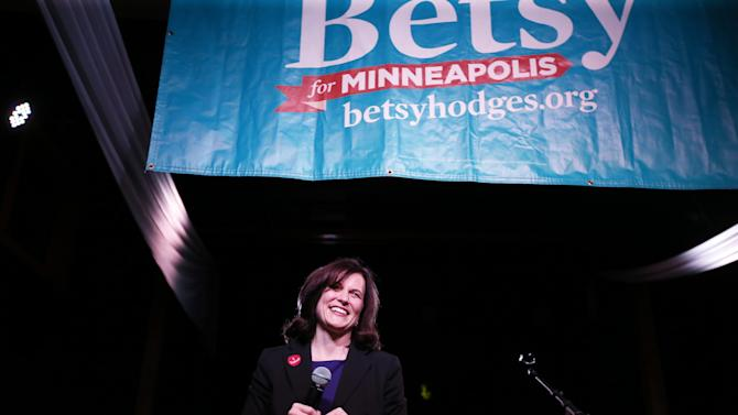 Betsy Hodges speaks at El Nuevo Rodeo, her campaign headquarters, while awaiting election results Tuesday Nov. 5, 2013. (AP Photo/The Star Tribune, Jerry Holt)