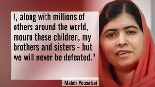 Pakistani teenager Malala Yousafzai, joint winner of this year's Nobel peace prize for her education campaign work, said she was heartbroken by the news that at least 126 people, mostly children, had been killed in a Taliban attack on a school in northwest Pakistan on Tuesday. Read more   here .