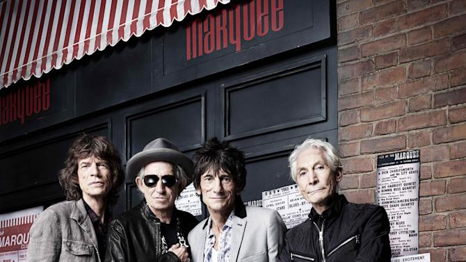 In this image made available by Rankin, and dated July 11, 2012, showing the rock band the Rolling Stones, with left to right, Mick Jagger, Keith Richards, Ronnie Wood and Charlie Watts, issued Thursday July 12, 2012, as issued to mark the 50th anniversary of their first ever live performance on 12 July 1962 at the Marquee club in London.  The group played their first show at the club on July 12, 1962, under the name The Rollin' Stones, hastily chosen as the band's name from a song by their blues hero Muddy Waters. (AP Photo / Rankin) NO SALES