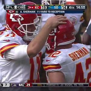 Kansas City Chiefs quarterback Alex Smith 11-yard TD pass to fullback Anthony Sherman