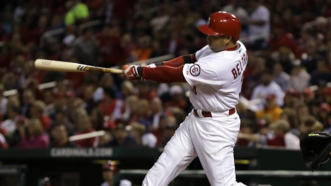 St. Louis Cardinals' Carlos Beltran hits a solo home run during the third inning of a baseball game against the Colorado Rockies, Friday, May 10, 2013, in St. Louis. (AP Photo/Jeff Roberson)