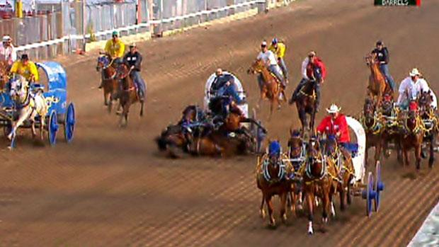 One horse died instantly and two others were put down by veterinarians after a crash at the Calgary Stampede's GMC Rangeland Derby on Thursday.