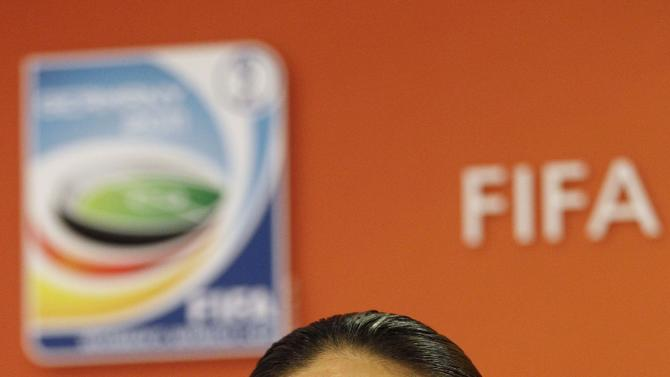 Japan's Homare Sawa answers questions in preparation for the final match against USA during the Women's Soccer World Cup in Frankfurt, Germany, Saturday, July 16, 2011. (AP Photo/Marcio Jose Sanchez)