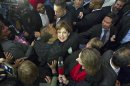 British Columbia Premier and Liberal leader Christy Clark is kissed by a supporter while celebrating with her victory in the provincial election in Vancouver