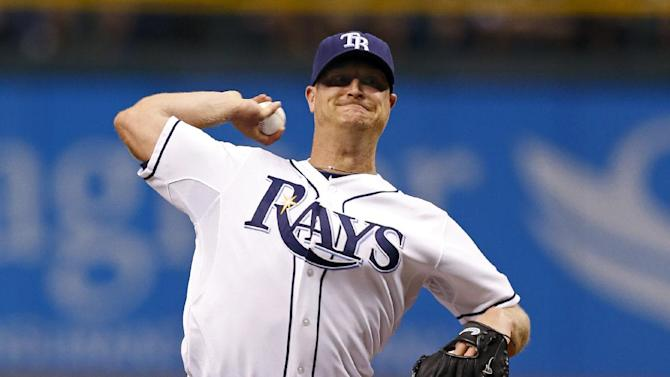 Tampa Bay Rays starting pitcher Alex Cobb throws during the first inning of a baseball game against the San Diego Padres, Friday, May 10, 2013, in St. Petersburg, Fla. (AP Photo/Mike Carlson)