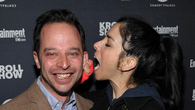 """Actor/comedians Nick Kroll, left, and Sarah Silverman attend an exclusive screening of Comedy Central's """"Kroll Show"""" hosted by Entertainment Weekly on Tuesday, January 15, 2013 at LA's Silent Movie Theatre in Los Angeles. (Photo by John Shearer/Invision for Entertainment Weekly/AP Images)"""