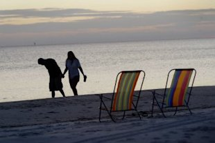 A sunset stroll in the Florida Panhandle in 2004 (Scott Olson/Getty Images)